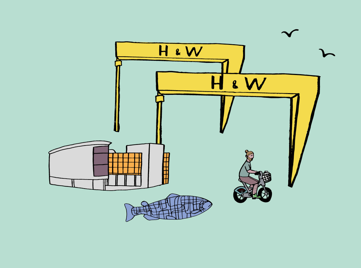 Belfast Bikes Harland & Wolff Illustration design